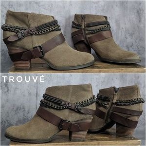 Trouve Bristol Moto Chain ankle booties in suede